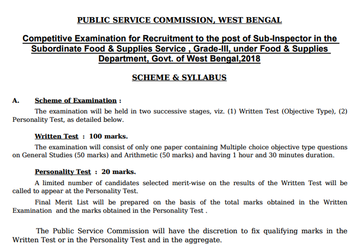 WBPSC Food SI Recruitment 2021
