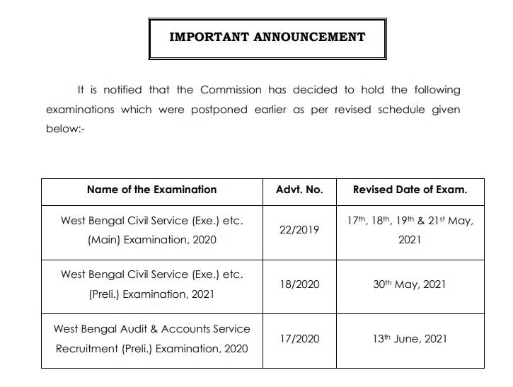 WBCS 2021 Exam Date